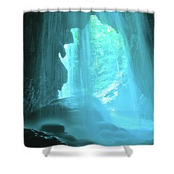 Jamaica Blue Shower Curtain by Carey Chen