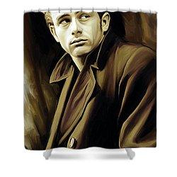 James Dean Artwork Shower Curtain by Sheraz A