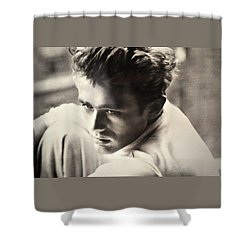 James Dean Black And White Shower Curtain by Jay Milo