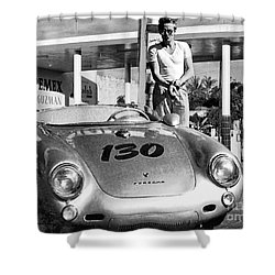 James Dean Filling His Spyder With Gas Black And White Shower Curtain by Doc Braham