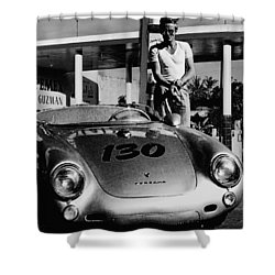 James Dean Filling His Spyder With Gas In Black And White Shower Curtain