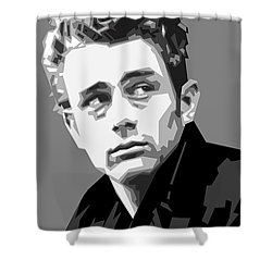 James Dean In Black And White Shower Curtain by Douglas Simonson
