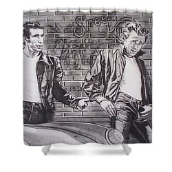 James Dean Meets The Fonz Shower Curtain