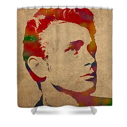 James Dean Watercolor Portrait On Worn Distressed Canvas Shower Curtain by Design Turnpike