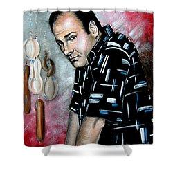 Shower Curtain featuring the painting James Gandolfini As Tony Soprano by Patrice Torrillo