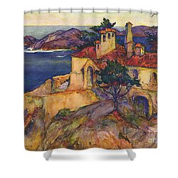 James House Carmel Highlands California By Rowena Meeks Abdy 1887-1945  Shower Curtain by California Views Mr Pat Hathaway Archives