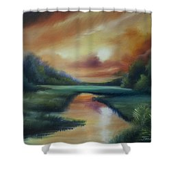James Island Marsh Shower Curtain by James Christopher Hill