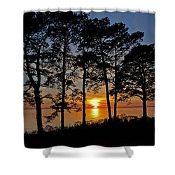 James River Sunset Shower Curtain by Suzanne Stout