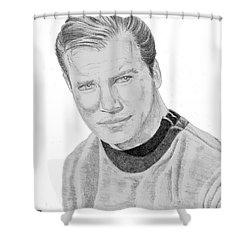Shower Curtain featuring the drawing James Tiberius Kirk by Thomas J Herring