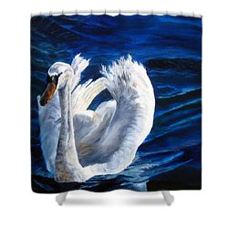 Shower Curtain featuring the painting Jamie's Swan by LaVonne Hand