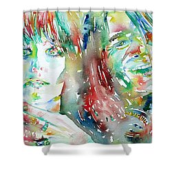 Janis Joplin And Grace Slick Watercolor Portrait.1 Shower Curtain by Fabrizio Cassetta