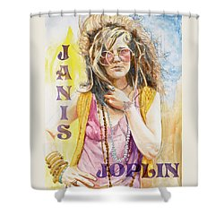 Janis Joplin Painted Poster Shower Curtain