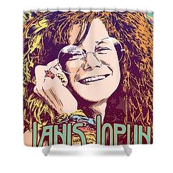 Janis Joplin Pop Art Shower Curtain by Jim Zahniser