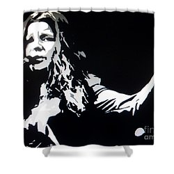 Janis Joplin Pop Art Shower Curtain by Ryszard Sleczka