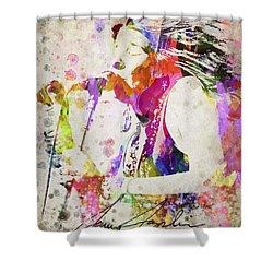 Janis Joplin Portrait Shower Curtain by Aged Pixel