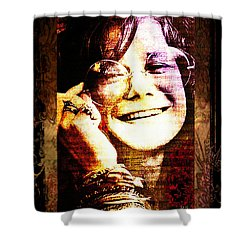 Janis Joplin - Upclose Shower Curtain by Absinthe Art By Michelle LeAnn Scott