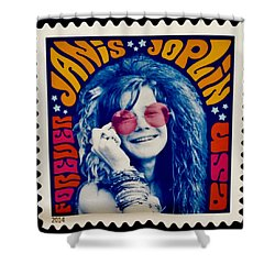 Janis Stamp In A Groovy Vibe Shower Curtain by Rob Hans