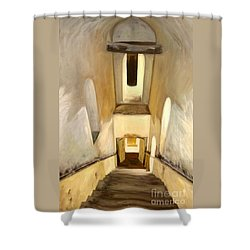 Jantar Mantar Staircase Shower Curtain by Mukta Gupta