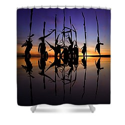 Shower Curtain featuring the photograph January Cornstalks by Jaki Miller