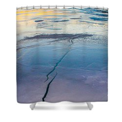 Shower Curtain featuring the photograph January Sunset On A Frozen Lake by Nina Silver