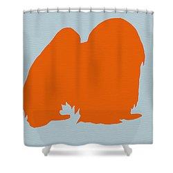 Japanese Chin Orange Shower Curtain by Naxart Studio