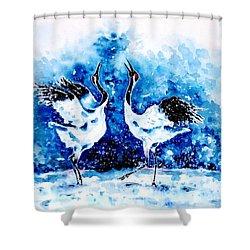 Japanese Cranes Shower Curtain by Zaira Dzhaubaeva