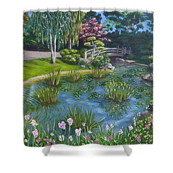 Shower Curtain featuring the painting Japanese Garden by Amelie Simmons
