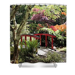 Japanese Garden Bridge With Rhododendrons Shower Curtain by Carol Groenen