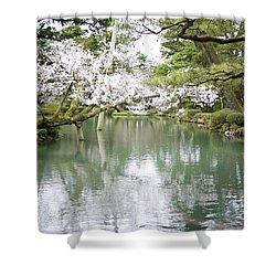 Japanese Garden  Shower Curtain by Moshe Torgovitsky