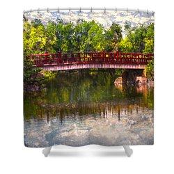Japanese Gardens Bridge Shower Curtain by Debra and Dave Vanderlaan