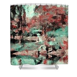 Japanese Garden's Shower Curtain by Kathleen Struckle