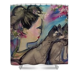 Japanese Lady And Felines Shower Curtain