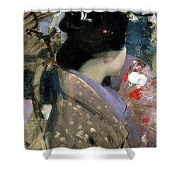 Japanese Lady With A Fan Shower Curtain by George F Henry