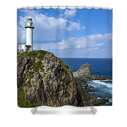 Japanese Lighthouse At Uganzaki Shower Curtain