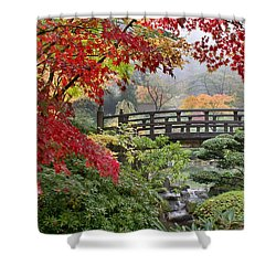 Japanese Maple Trees By The Bridge In Fall Shower Curtain by Jit Lim