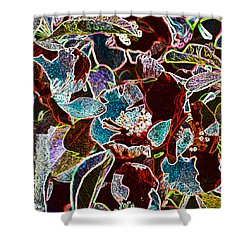 Japanese Quince In Abstract Shower Curtain by Tine Nordbred
