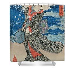 Japanese Woman By The Sea Shower Curtain by Utagawa Kunisada