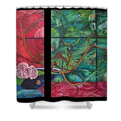 Shower Curtain featuring the painting Japanesse Flower Arrangment by Joshua Morton