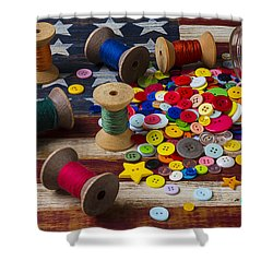 Jar Of Buttons And Spools Of Thread Shower Curtain by Garry Gay