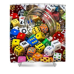 Jar Of Colorful Dice Shower Curtain by Garry Gay