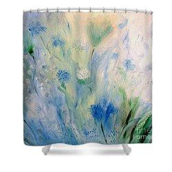 Jardin Bleu Shower Curtain by Julie Brugh Riffey
