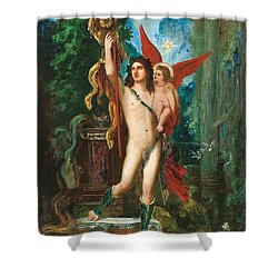 Jason And Eros Shower Curtain by Gustave Moreau
