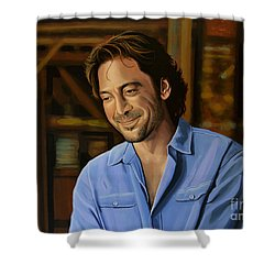 Javier Bardem Painting Shower Curtain by Paul Meijering