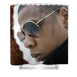 Shower Curtain featuring the digital art Jay Z by Marvin Blaine
