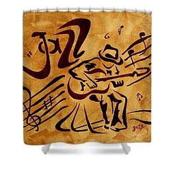 Jazz Abstract Coffee Painting Shower Curtain by Georgeta  Blanaru