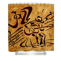 Shower Curtain featuring the painting Jazz Abstract Coffee Painting by Georgeta  Blanaru
