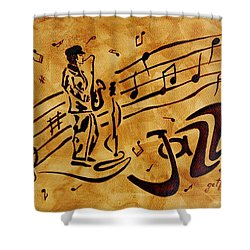 Jazz Coffee Painting Shower Curtain by Georgeta  Blanaru