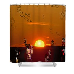 Shower Curtain featuring the digital art Jazz Fest by Cathy Anderson