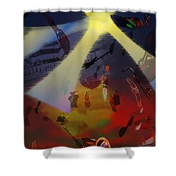 Shower Curtain featuring the digital art Jazz Fest II by Cathy Anderson