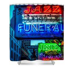 Jazz Funeral And Jester On Bourbon St. Shower Curtain by Kathleen K Parker